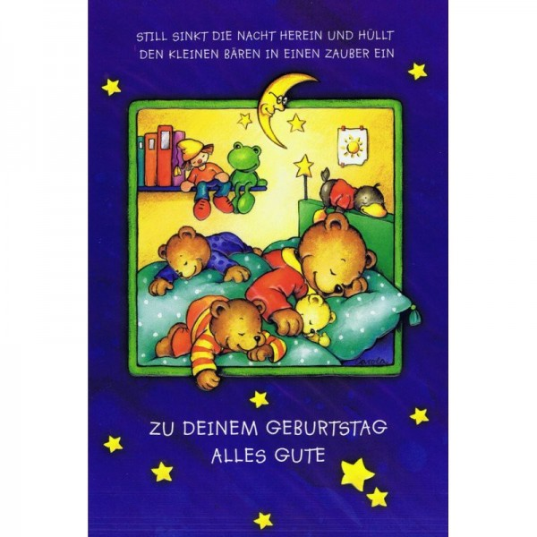 Geburtstagskarte - Kindergeburtstag - Traumhafte Bären-Familie