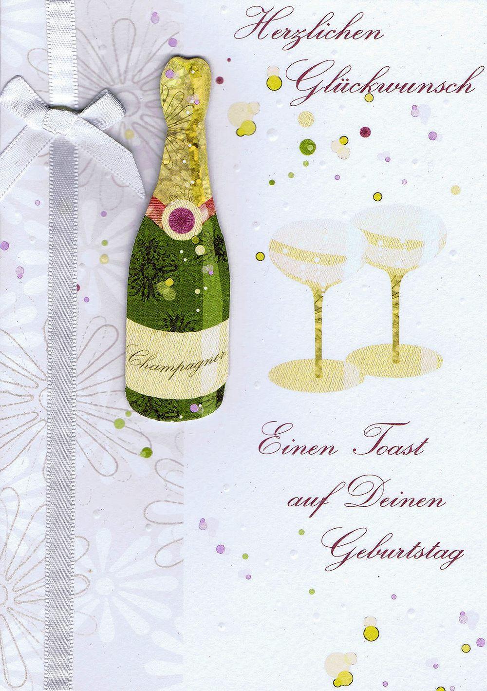 Hochwertige Geburtstagskarte - Einen Toast auf Deinen Geburtstag