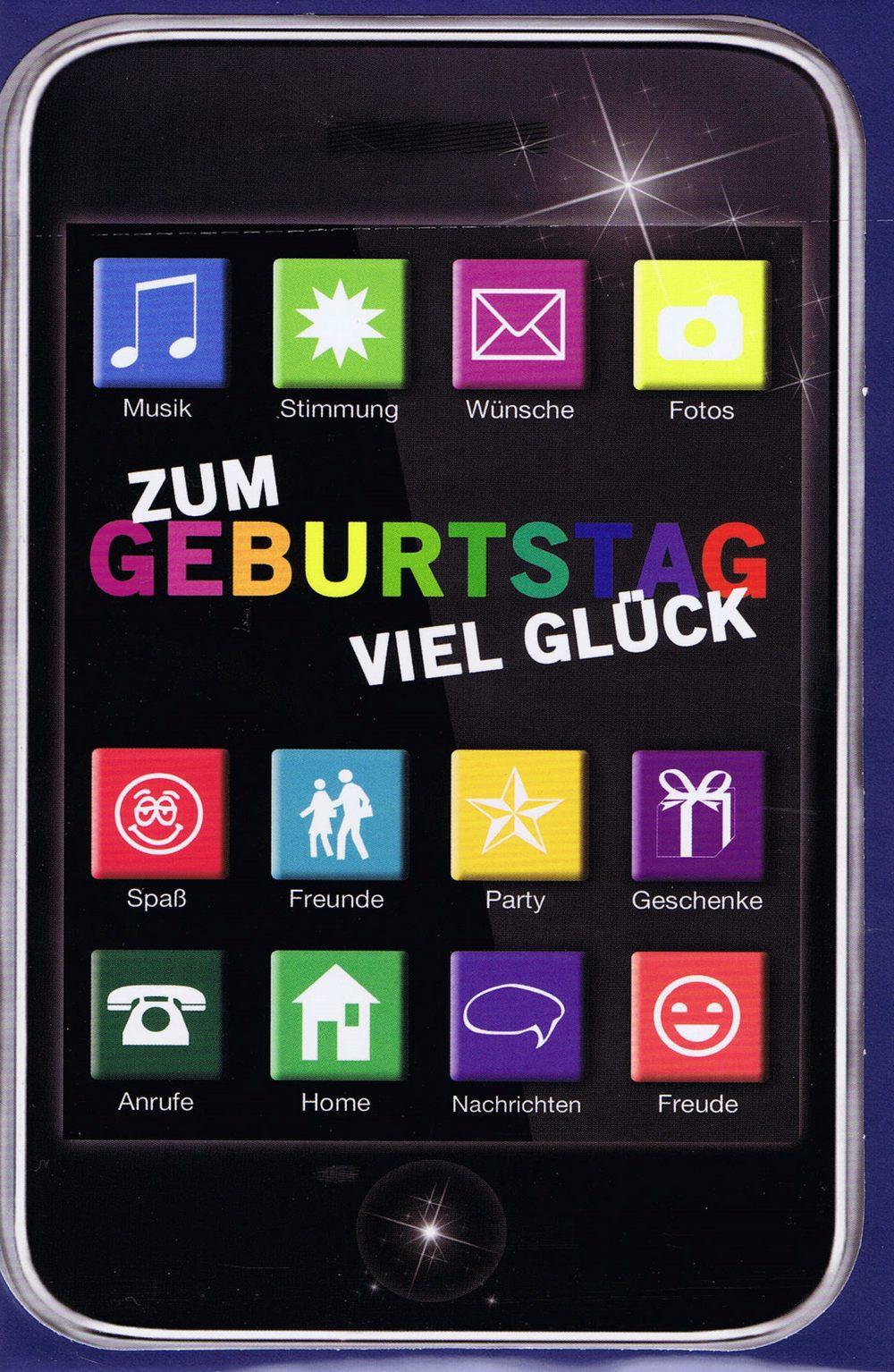 Geburtstagskarte Motiv: Smartphone mit Apps