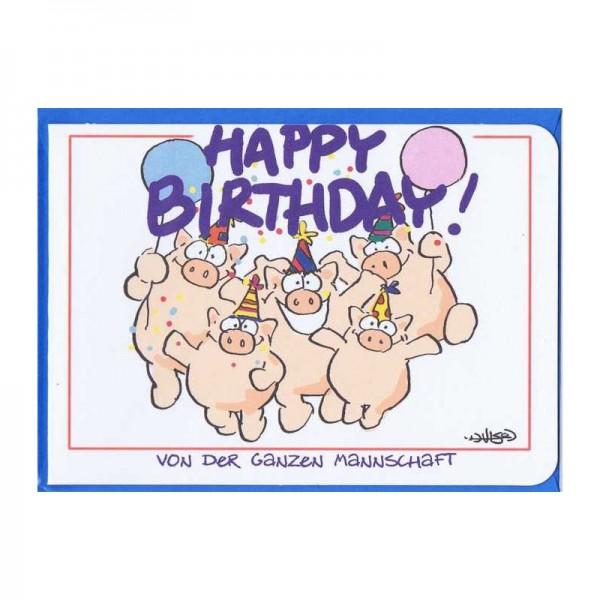Kleine Karte Happy Birthday von der ganzen Mannschaft