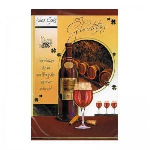 Geburtstagskarte mit Sprüche zum Thema Wein 01 - Beim Menschen ist es wie beim Wein