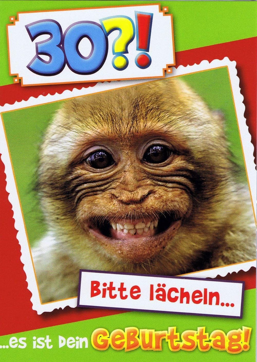 Affige Geburtstagskarte - Bitte lächeln...