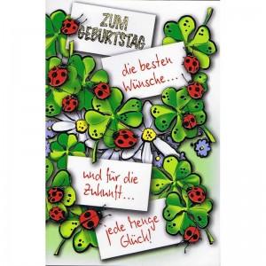 Klappkarte, Geburtstag, Glücks-Motive, Kleeblatt, Marienkäfer