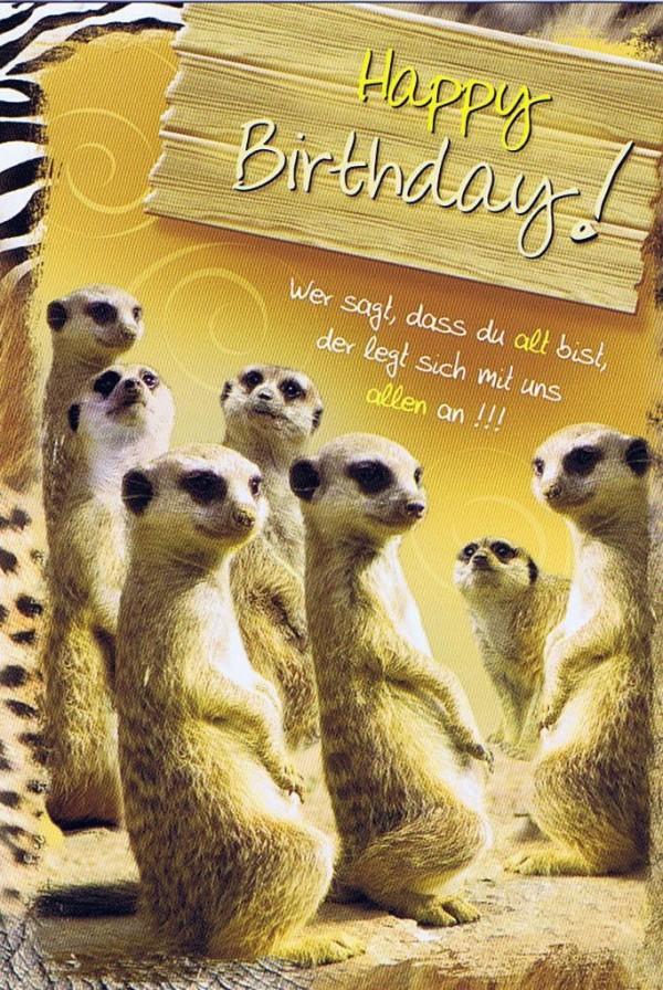 Geburtstagskarte mit Tiermotiv, Happy Birthday, Erdhörnchen