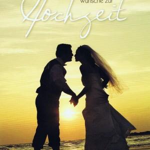 Romantische Hochzeitskarte - Brautpaar im Sonnenuntergang