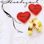 Hochzeitskarte zwei Herzen und Eheringe