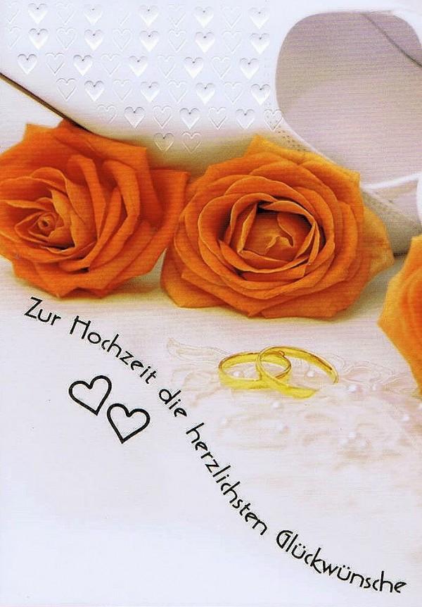 Hochzeitskarte Rosenblüten und Eheringe