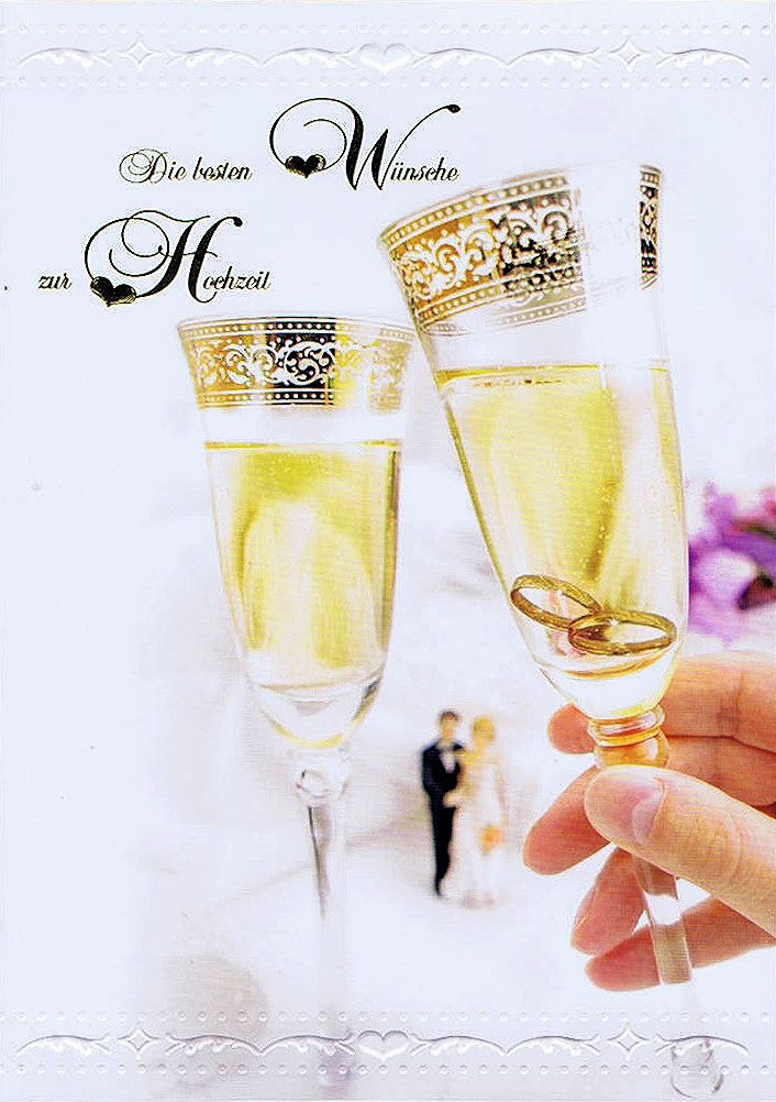 Hochzeitskarte Sektgläser und Eheringe