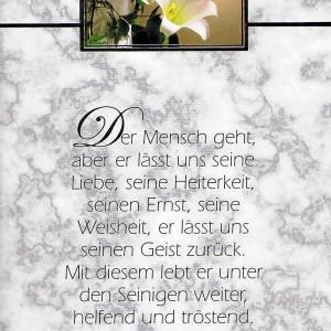 Trauerkarte mit Vers, Trauer, Aufrichtige Anteilnahme