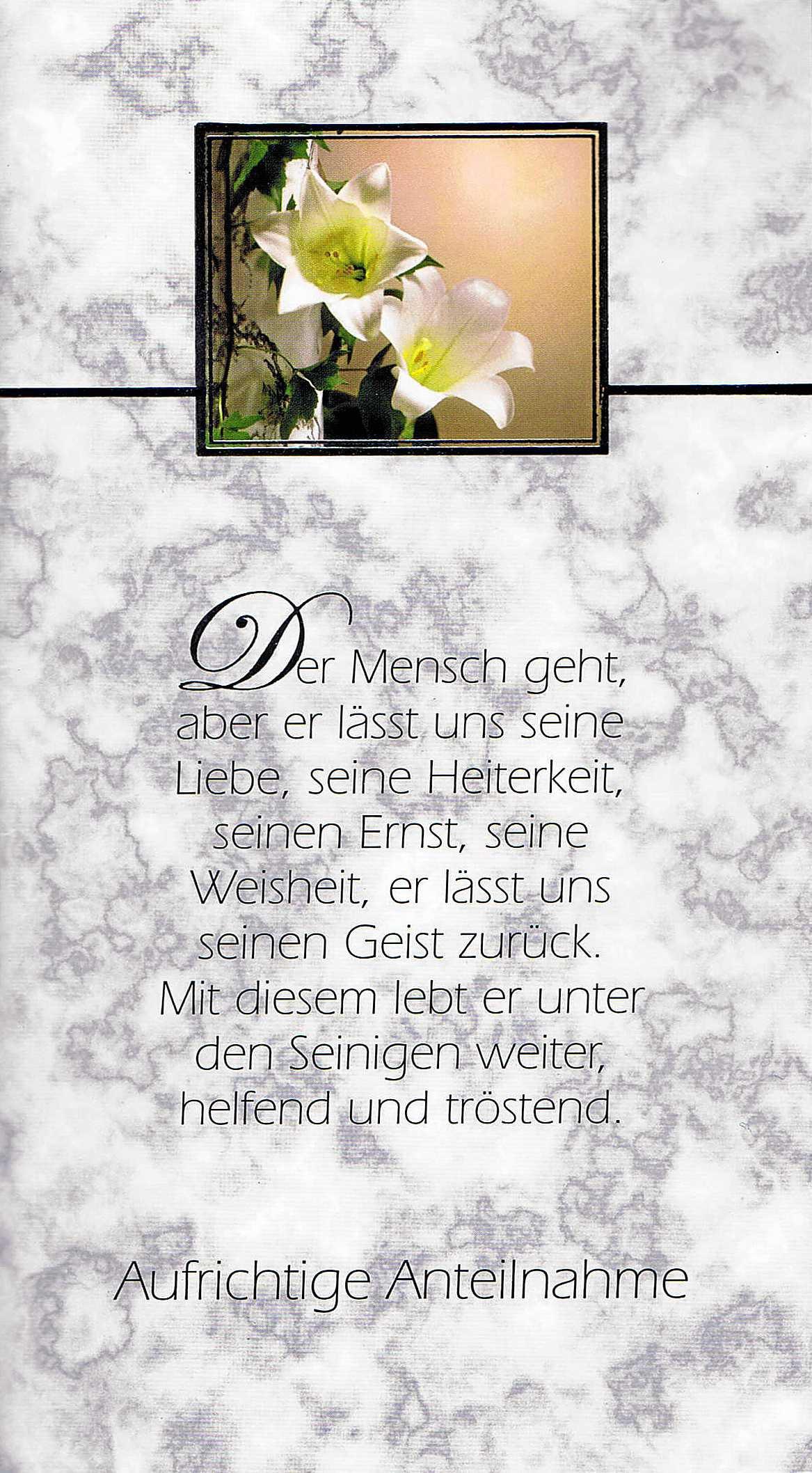 Beileidswunsche Fur Karten: Trauerkarte Mit Vers, Trauer, Aufrichtige Anteilnahme