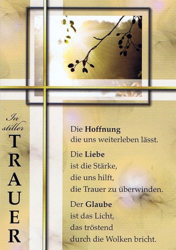 """Trauerkarte """"In stiller Trauer"""" mit Spruch"""