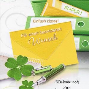 Gelscheinkarte: Glückwunsch zum Abitur mit kleinem Kuvert
