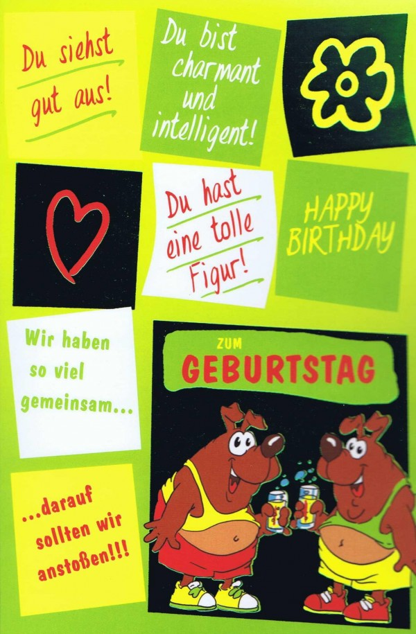 Geburtstagskarte, Humor-Motiv, mit Metall-Effekt