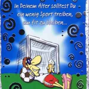 Geburtstagskarte, Humor-Motiv, mit farbigen Umschlag