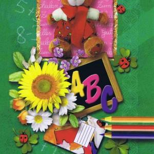 Glückwunschkarte Einschulung, Zum Schulanfang die besten Wünsche