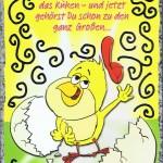 Klappkarte, Geburtstag, Humor-Motiv und farbigen Umschlag