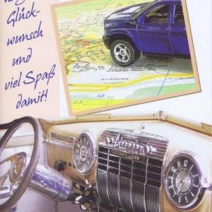 Karte mit Umschlag zum neuen Auto