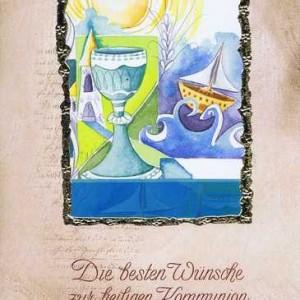 """Kommunionkarte mit Kuvert """"Zur heiligen Kommunion"""" Motiv 2"""