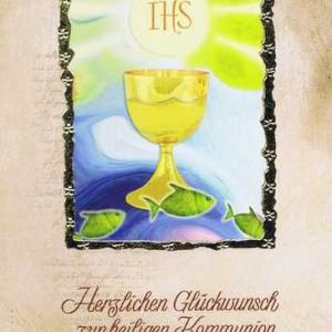 """Kommunionkarte mit Kuvert """"Zur heiligen Kommunion"""" Motiv 6"""