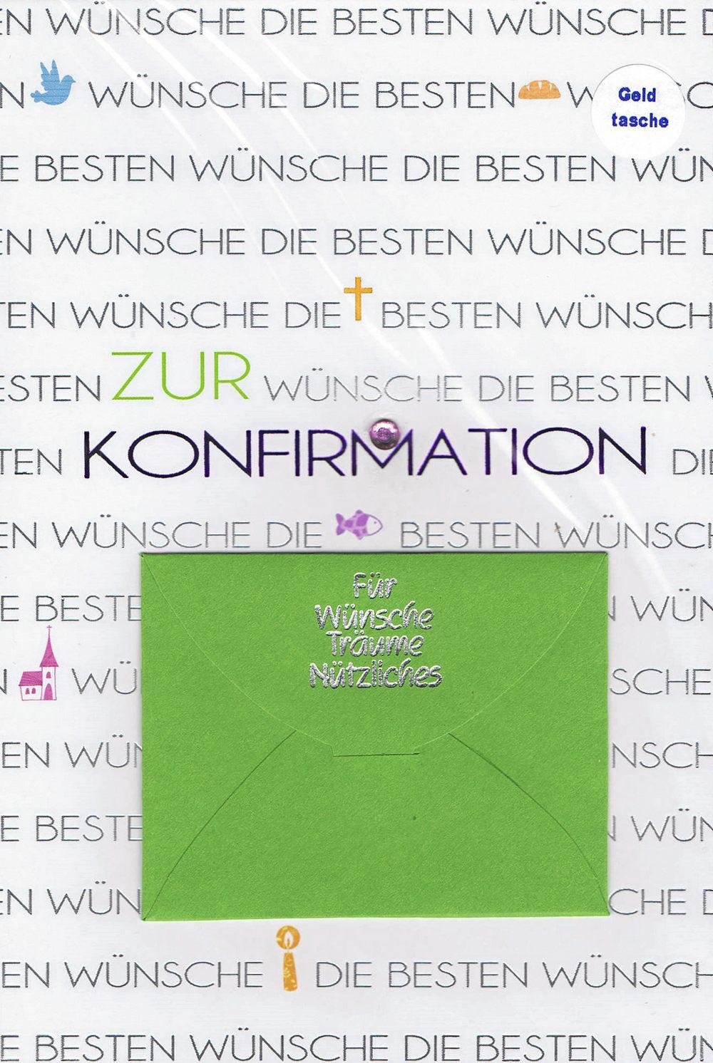 Glückwunschkarte zur Konfirmation - mit Geldtasche