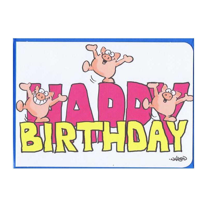 Kleine Karte Happy Birthday mit blauen Umschlag