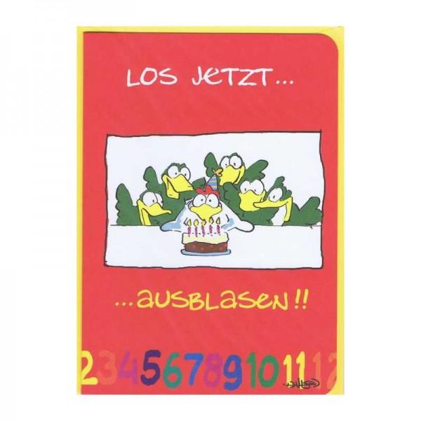 """Kleine Geburtstagskarte """"Los jetzt...ausblasen"""""""