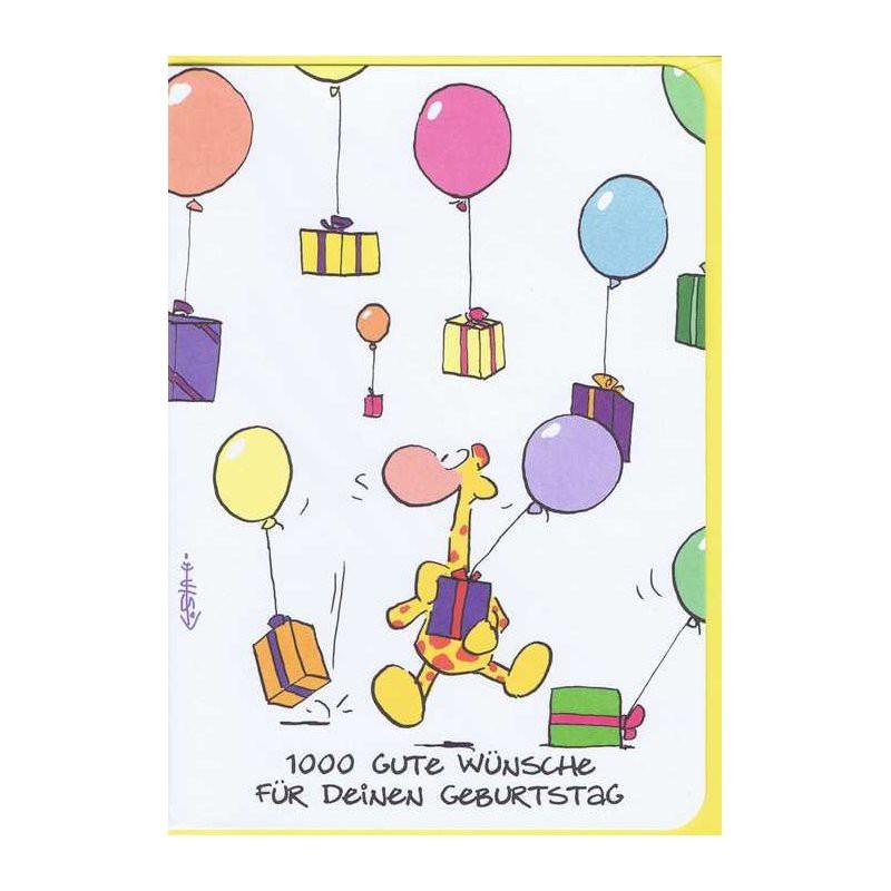 Kleine Geburtstagskarte - 1000 Gute Wünsche
