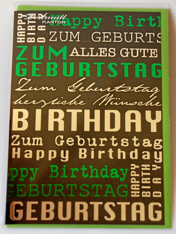 Stylische Geburtstagskarte - Perlmutt Karton - schwarz, grün, silber