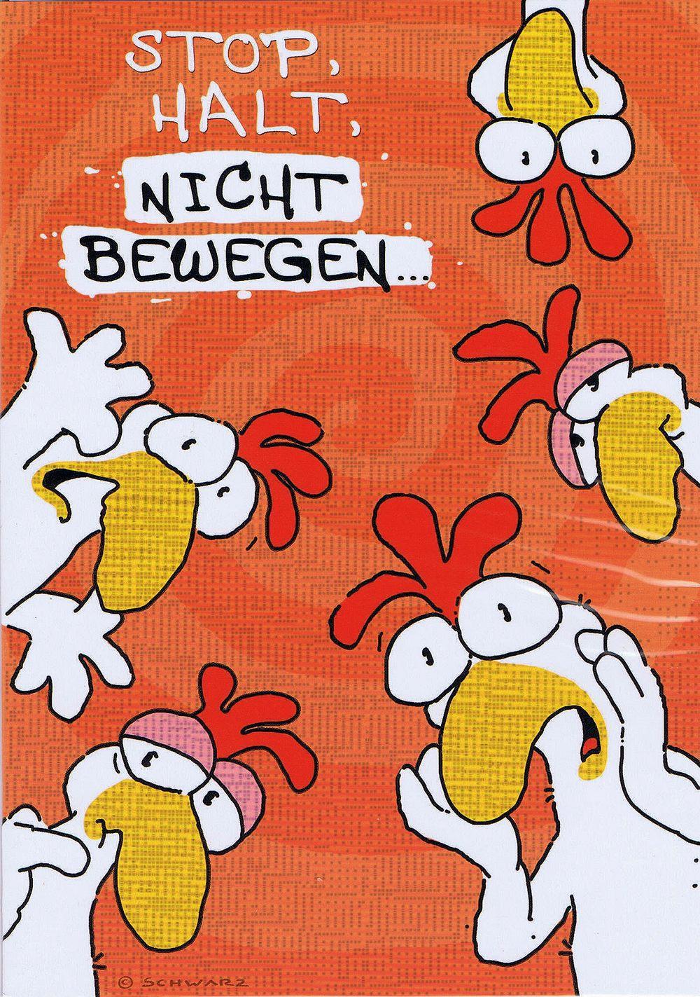 Geburtstagskarte Chicken and Friends: Stop, Halt, Nicht Bewegen