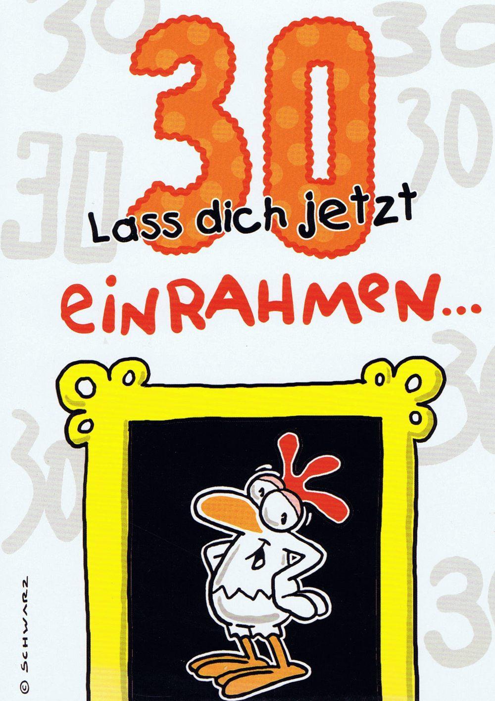 """Geburtstagskarte mit Humor """"Chicken"""" 30 Lass dich jetzt einrahmen"""
