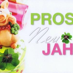 Prosit Neujahr - Glücksschweinchen mit Glücksklee - Karte mit Glimmer