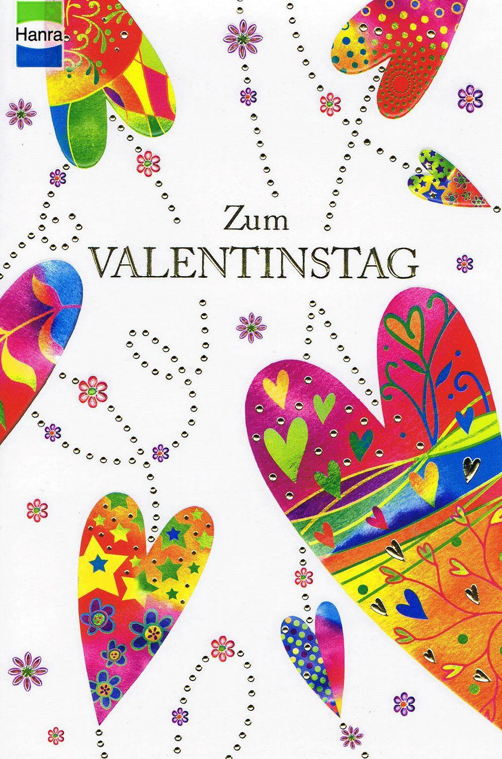 Zum Valentinstag - Karte mit Gold- und Reliefprägung