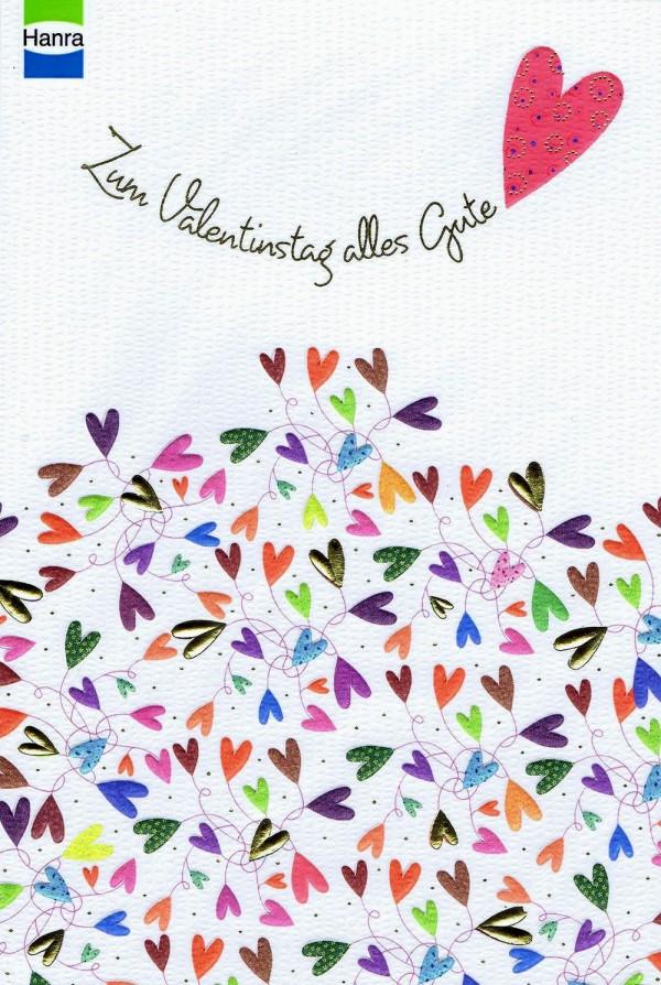Valentinstag Karte mit Gold- und Reliefprägung, Strukturierte Oberfläche