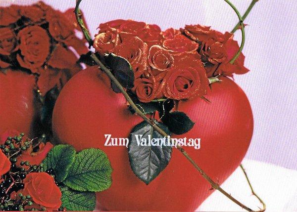 Karte zum Valentinstag, Herz und Rosen