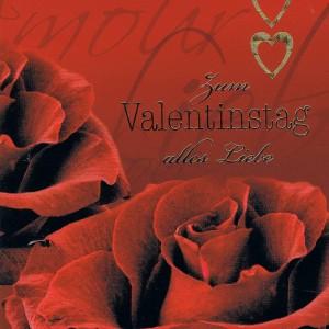 Karte zum Valentinstag mit roten Rosenblüten