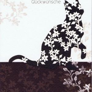 Neutrale Glückwunschkarte mit Katzenmotiv für viele Anlässe