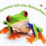 Postkarte Frosch, Bekomme ich ein Küsschen