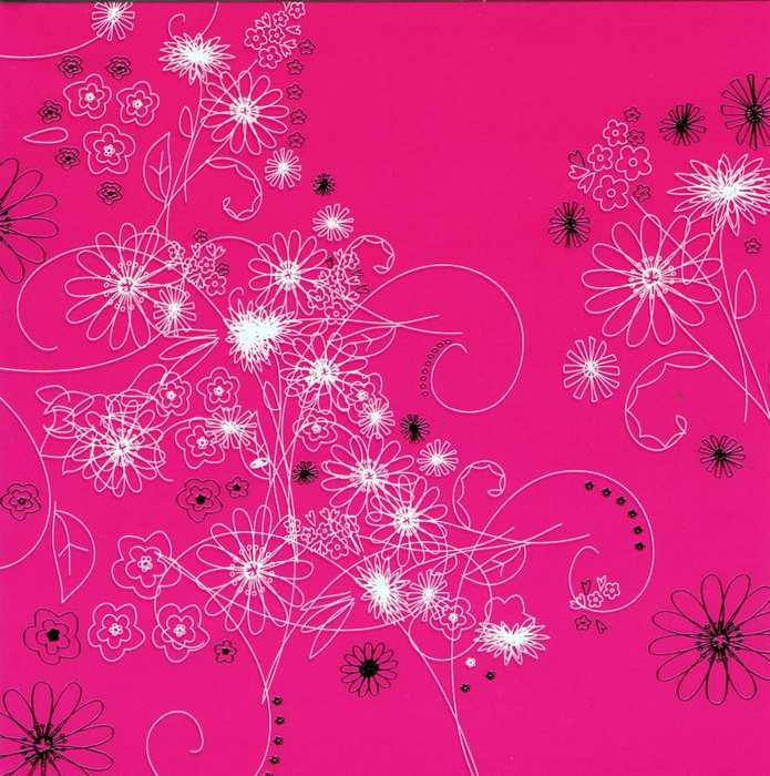 Quatratische Grusskarte in der Grundfarbe pink