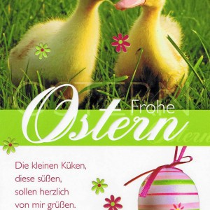 Osterkarte Reliefprägung, farbiger Umschlag, netter Text