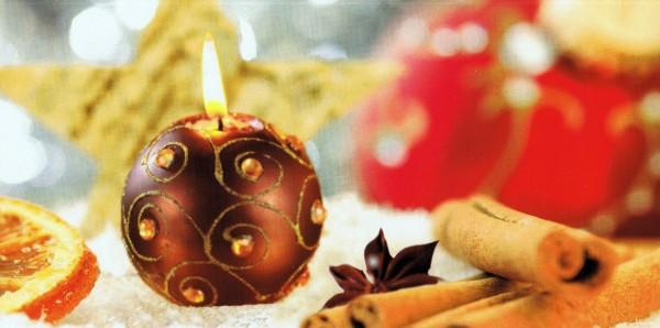 Duftkarte auf Perlmutt-Karton für Ihre Weihnachtsgrüsse Kerzenduft