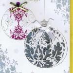 Handgearbeitete Weihnachtskarte Weihnachtskugeln