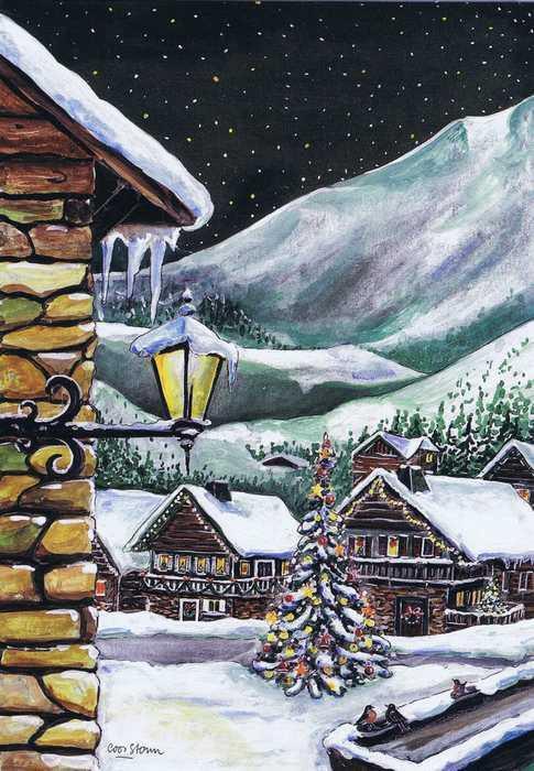 Weihnachtskarte - Dorf in den Bergen