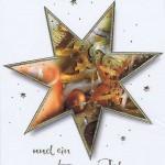 Schlichte Weihnachtskarte mit Stern und goldene Schrift