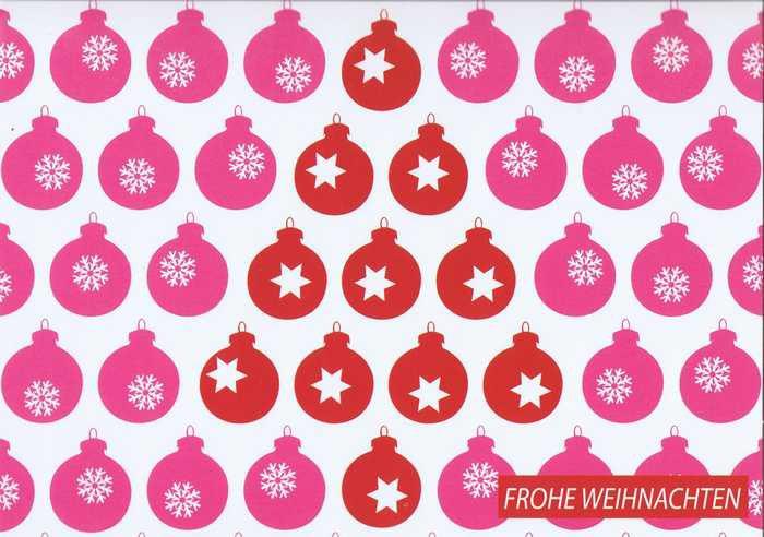 Kleine Weihnachtskarte - Weihnachtskugeln - Frohe Weihnachten