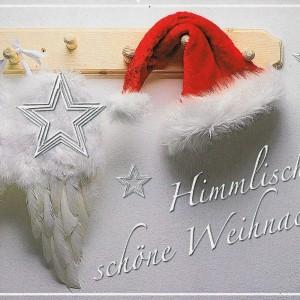 Himmlische Weihnachtskarte mit Glimmer