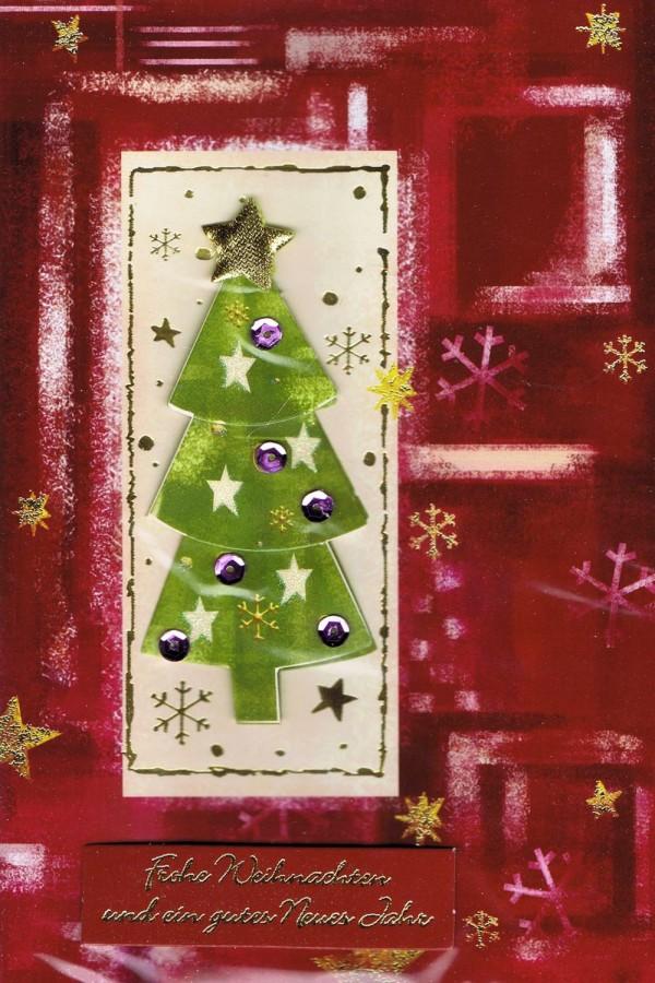 Weihnachtskarte mit Applikationen und Steinchen