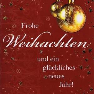 Weihnachtskarte Motiv: Weihnachtskugel gold - Frohe Weihnachten