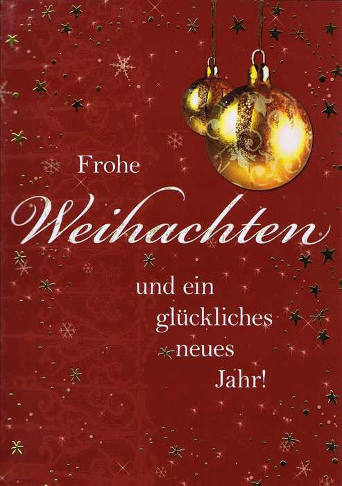 Frohe Weihnachten Gold.Weihnachtskarte Motiv Weihnachtskugel Gold Frohe Weihnachten
