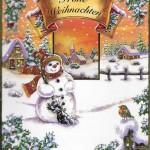 Weihnachtskarte Motiv: Schneemann - Frohe Weihnachten