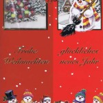 Weihnachtskarte Motiv: Schneemänner - Frohe Weihnachten